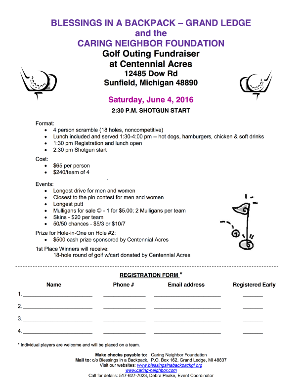 Golfer registration flier