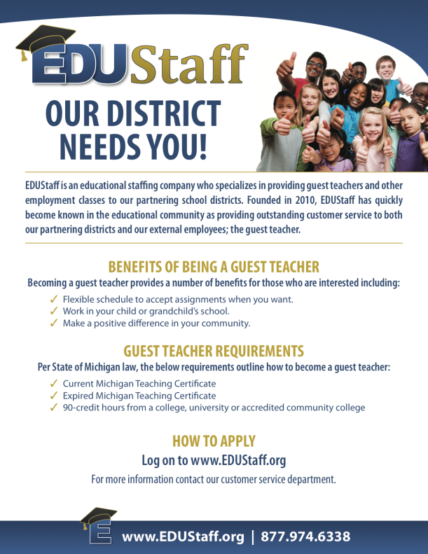 EDUStaff Flyer 11-16 - Our District Needs You Flyer