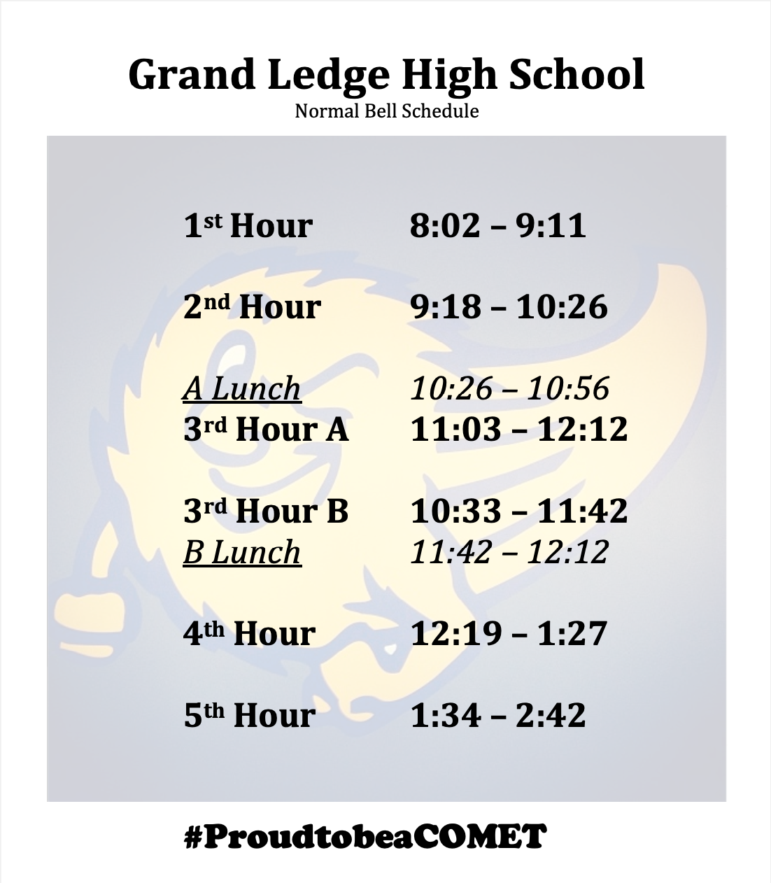 Normal Bell Schedule for 2021-22 school year