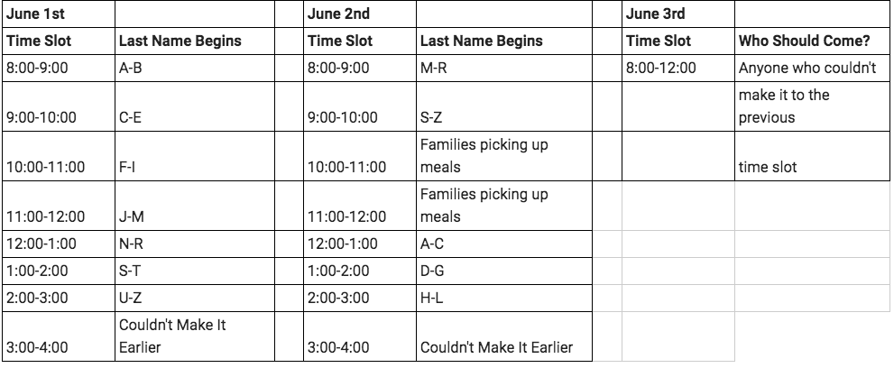 Locker Cleanout Schedule