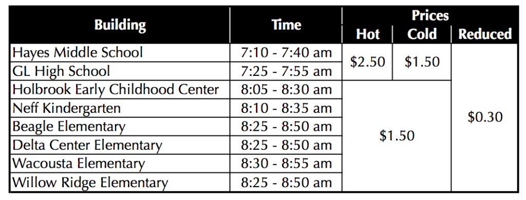 Breakfast Times and Cost 16-17